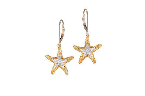 16mm Yellow Gold Starfish Lever Back Earrings with Diamonds