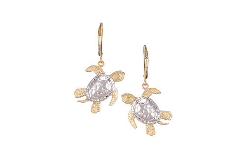 White and Yellow Gold Lever Back Turtle Earrings with Diamonds