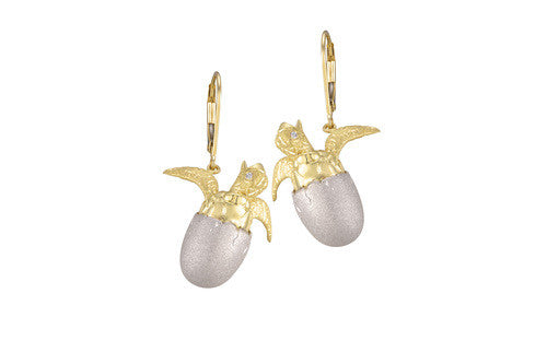 White and Yellow Gold Hatching Turtle Lever Back Earrings