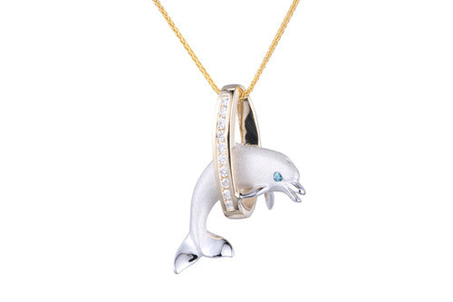 White Gold Dolphin in Hoop Pendant with Diamonds