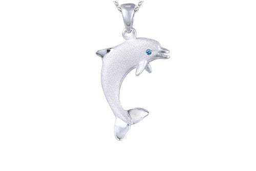 White Gold and Blue Diamond Dolphin Pendant