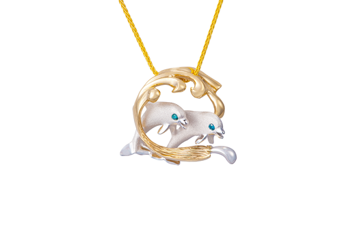 White and Yellow Gold 2 Dolphins in Hoop Pendant