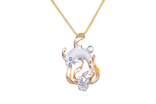 Yellow and White Gold Dolphin Pendant with Diamonds