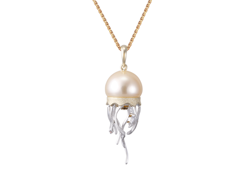 White Gold Jellyfish and Peach Fresh Water Cultured Pearl Pendant