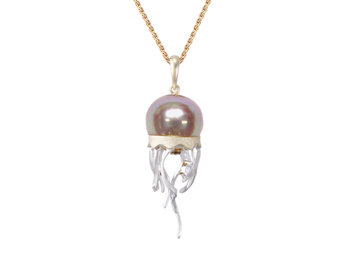 White Gold Jellyfish and Peacock Fresh Water Cultured Pearl Pendant