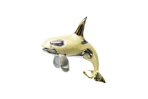 40mm White and Yellow Gold Whale Pendant with Diamonds