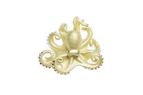 19mm Yellow Gold Octopus Pendant with Diamonds