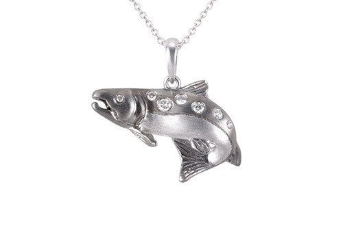 24mm White Gold Salmon Pendant with Diamonds