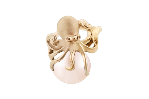 Yellow Gold Octopus Pendant with White Pearl