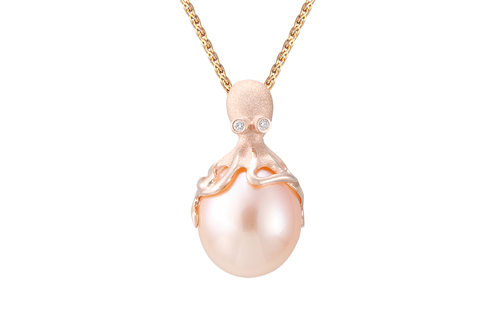 Yellow Gold and Peach Fresh Water Cultured Pearl Pendant