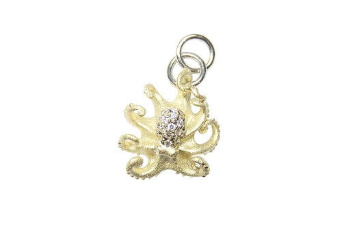 16mm White Gold Octopus Bracelet Charm with Diamonds