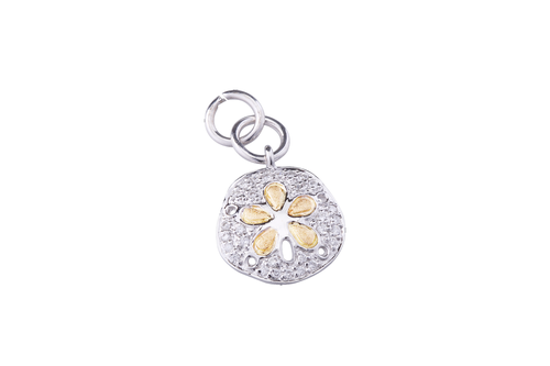 12mm White and Yellow Gold Sand Dollar Bracelet Charm with Diamonds