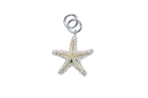 16mm White and Yellow Gold Starfish Bracelet Charm with Diamonds