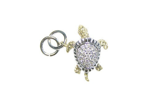 17mm White and Yellow Gold Turtle Bracelet Charm with Diamonds