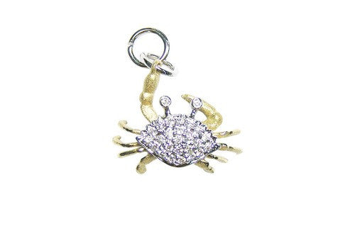 18mm Yellow and White Gold Crab Bracelet Charm with Diamonds