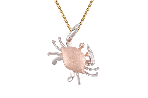 25mm White and Rose Gold Crab Pendant with Diamonds
