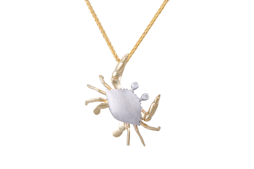 25mm White and Yellow Gold Crab Pendant with Diamonds