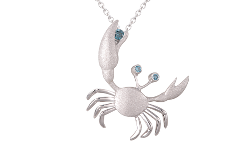 22mm White Gold Crab Pendant with Blue Diamonds