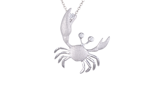 22mm White Gold Crab Pendant with Diamonds