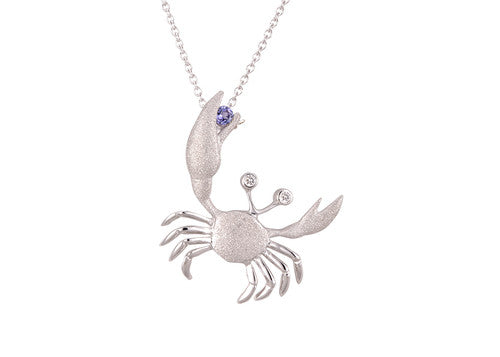 22mm White Gold Crab Pendant with Diamonds and Tanzanite