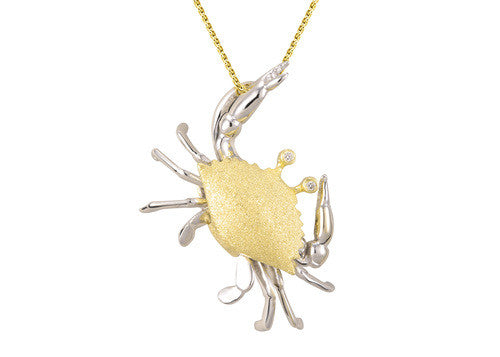 28mm White and Yellow Gold Crab Pendant with Diamonds
