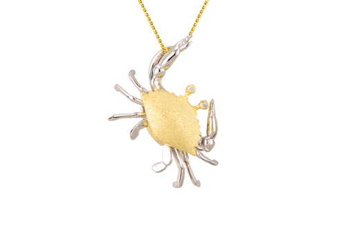 25mm Yellow and White Gold Crab Pendant with Diamonds
