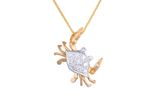 Yellow and White Gold Crab Pendant with Diamonds