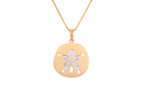 Yellow Gold Sand Dollar (15mm) Pendant with Diamonds