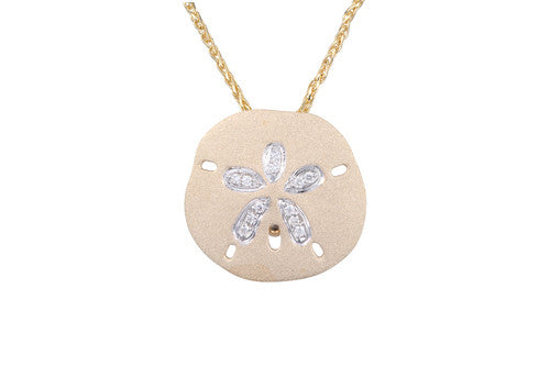 Sand Dollar (18mm) Pendant 14k Yellow Gold with Diamonds