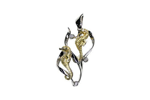 22mm Yellow and White Gold 2 Seahorse Pendant with Diamonds