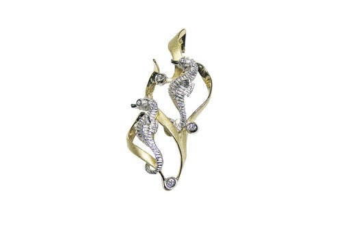 22mm White and Yellow Gold 2 Seahorse Pendant with Diamonds