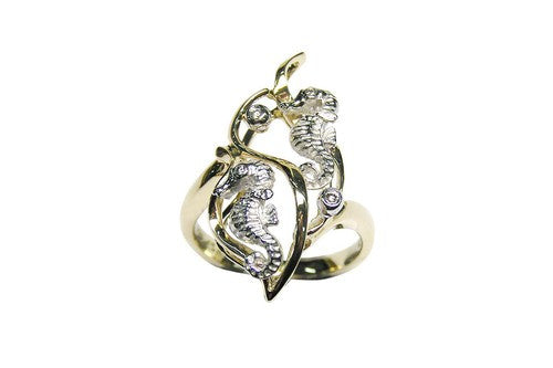 22mm White and Yellow Gold Seahorse Ring with Diamonds