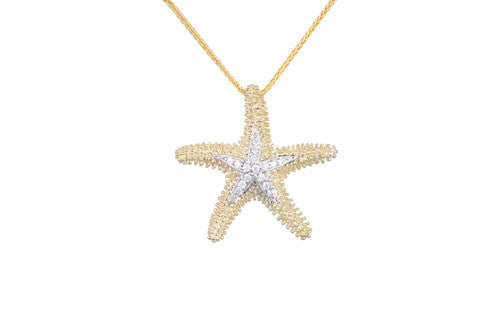 22mm Yellow Gold Starfish Pendant with Diamonds