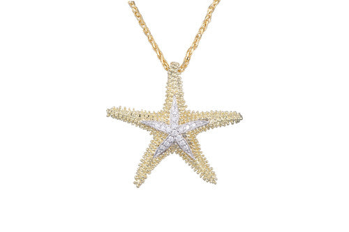 White and Yellow Gold Starfish Pendant with Diamonds