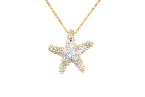 16mm Yellow Gold Starfish Pendant with Diamonds