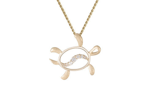 30mm See-through Yellow Gold Turtle Pendant with Diamonds