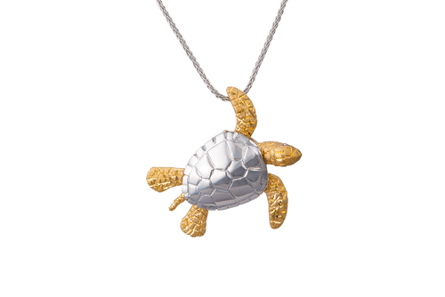 White and Yellow Gold Turtle Pendant with Diamonds