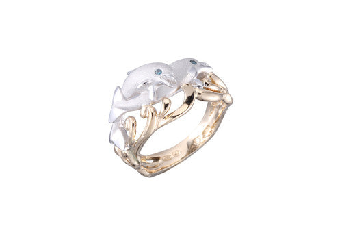 White and Yellow Gold 2 Dolphins Ring