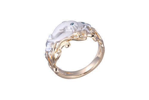 15mm White and Yellow Gold Dolphin Ring with Blue Diamonds