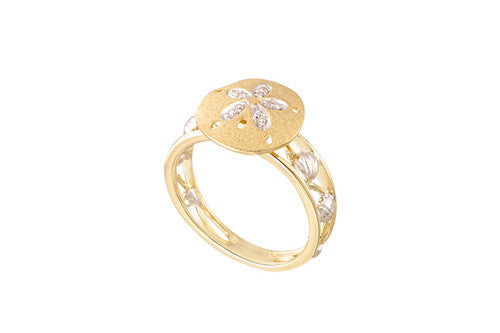 White and Yellow Gold Sand Dollar Ring with Diamonds