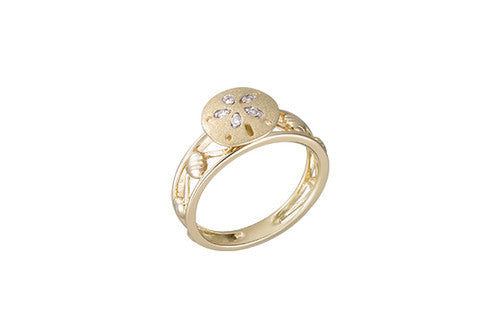 Yellow Gold Sand Dollar Ring with Diamonds