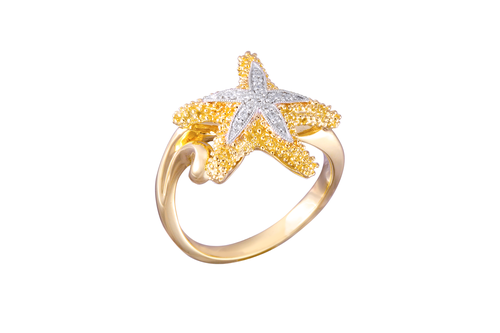 Yellow Gold Starfish Ring with Diamonds