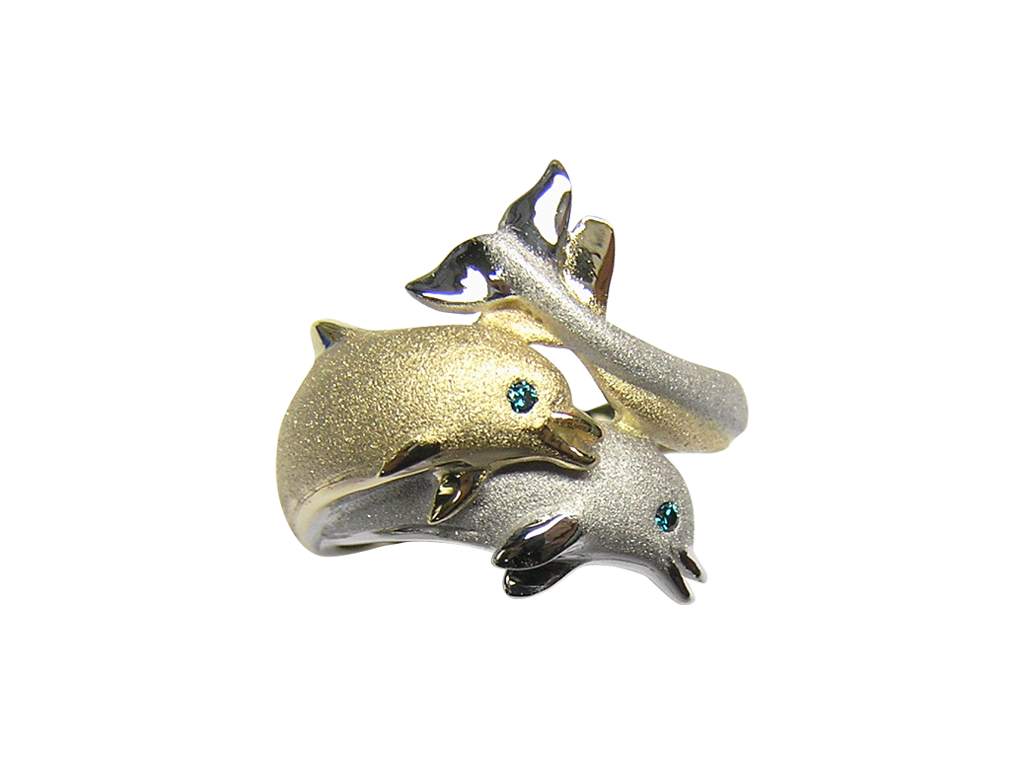 20mm White and Yellow Gold Dolphin Ring with Blue Diamonds