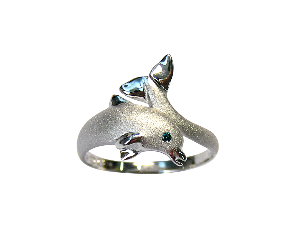 20mm White Gold Dolphin Ring