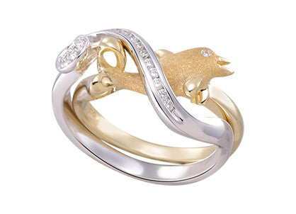 15mm White and Yellow Gold Dolphin Ring with Diamonds