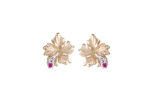 Hibiscus Earrings with Diamonds and Rubies