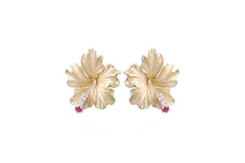 Yellow Gold Hibiscus Earrings with Diamonds and Rubies