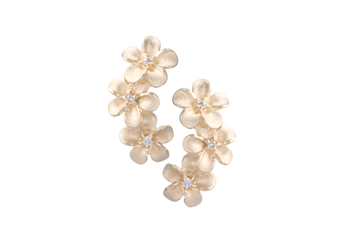 8mm Yellow Gold Plumeria Earrings