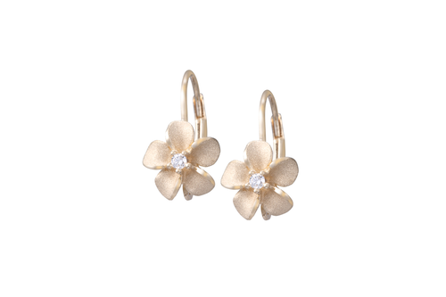 8mm Yellow Gold Plumeria Lever Back Earrings with Diamonds