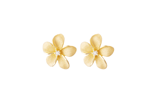 **Yellow Gold Plumeria Earrings with Diamonds